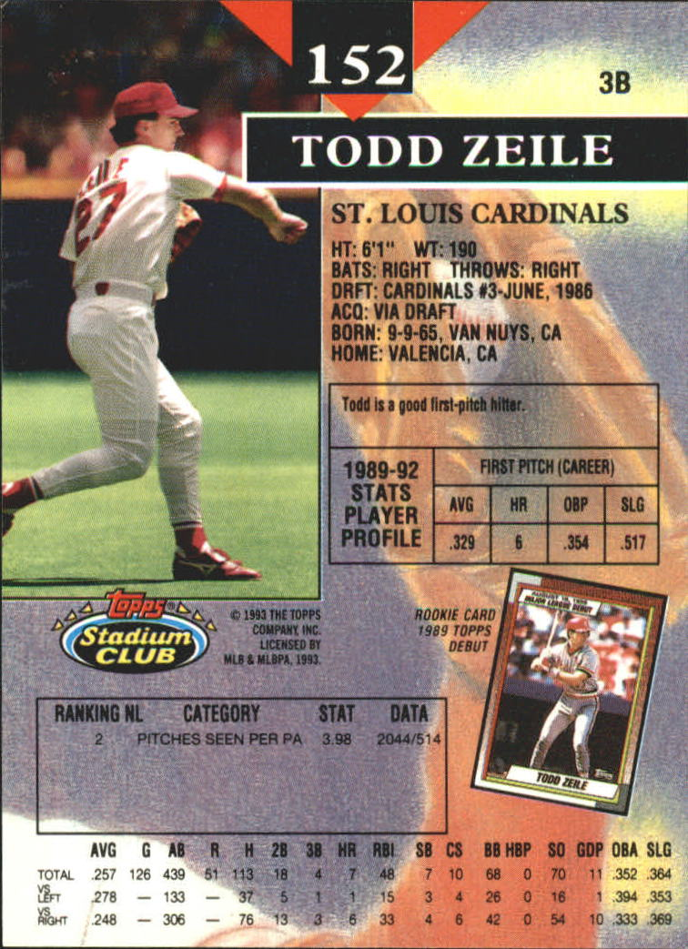 1993 Stadium Club First Day Issue #152 Todd Zeile back image