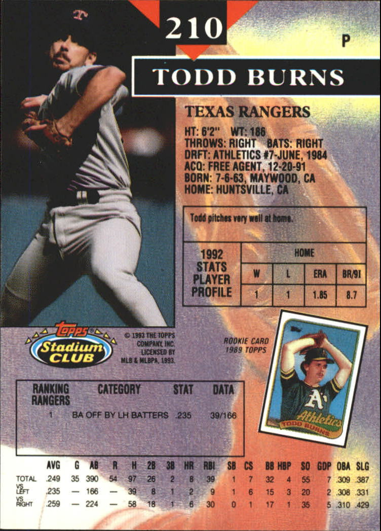 1993 Stadium Club First Day Issue #210 Todd Burns back image