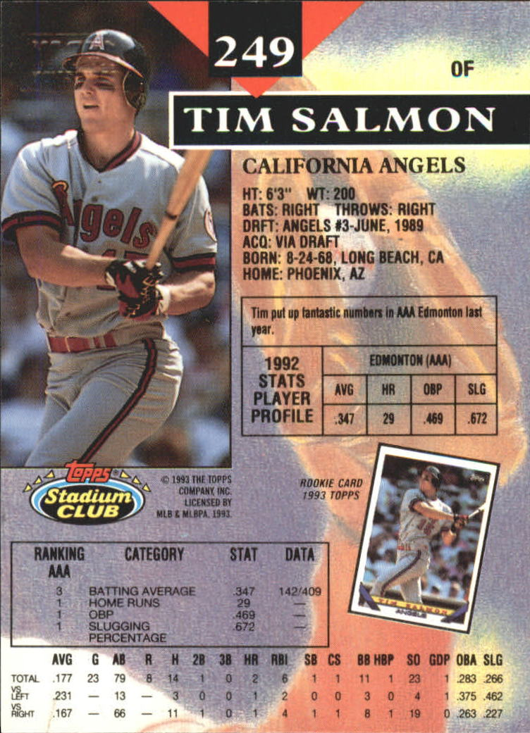 1993 Stadium Club First Day Issue #249 Tim Salmon back image