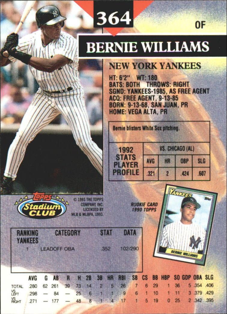 1993 Stadium Club First Day Issue #364 Bernie Williams back image