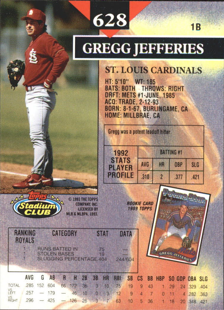 1993 Stadium Club First Day Issue #628 Gregg Jefferies back image