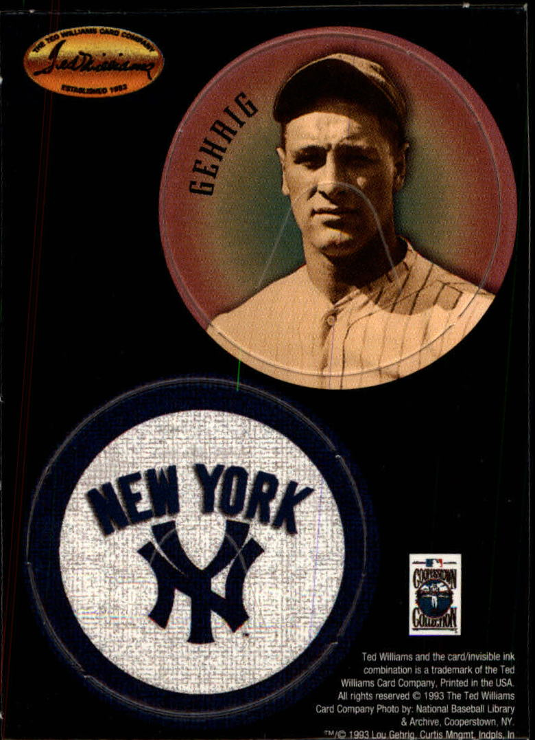 1993 Ted Williams POG Cards #24 Lou Gehrig/New York Yankees