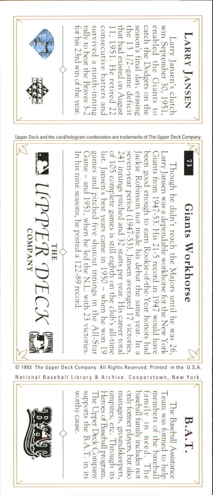 1993 Upper Deck All-Time Heroes #73 Larry Jansen back image