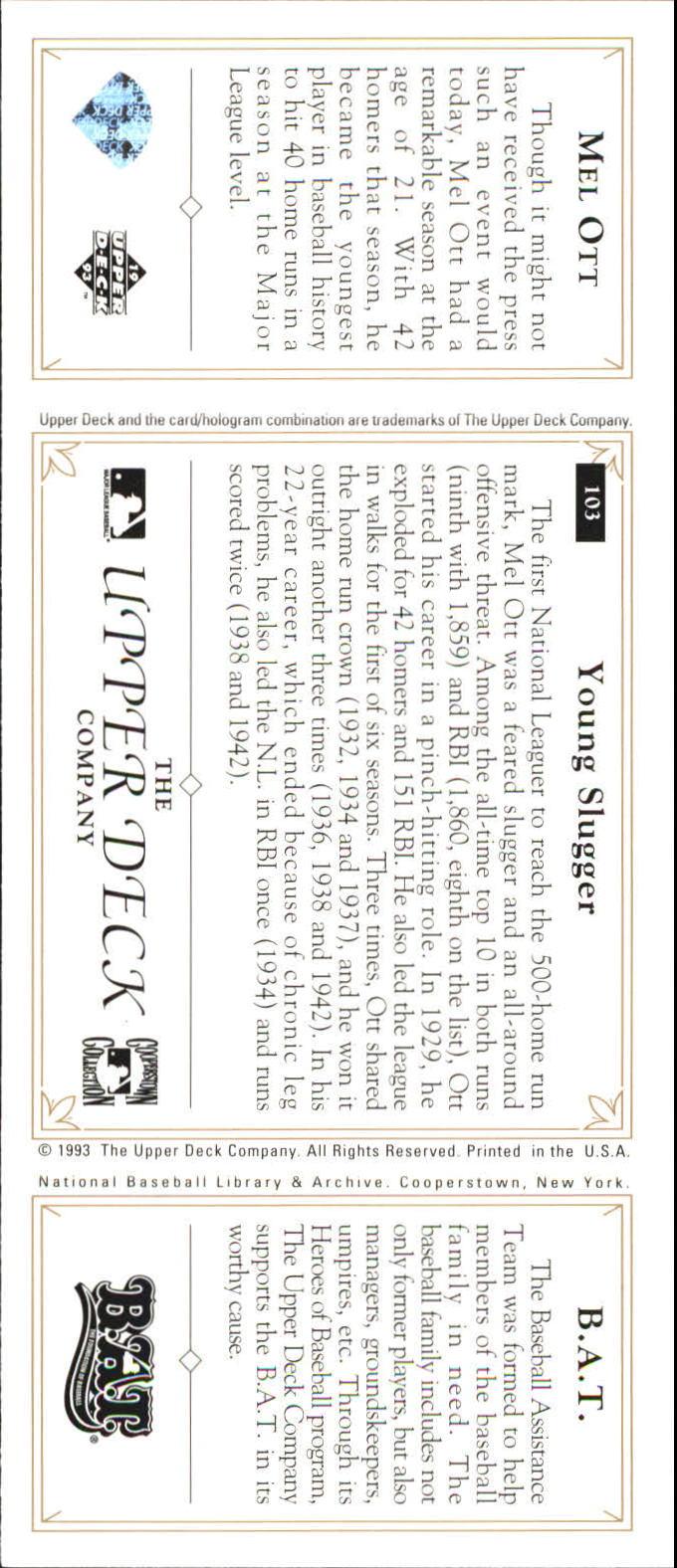1993 Upper Deck All-Time Heroes #103 Mel Ott back image