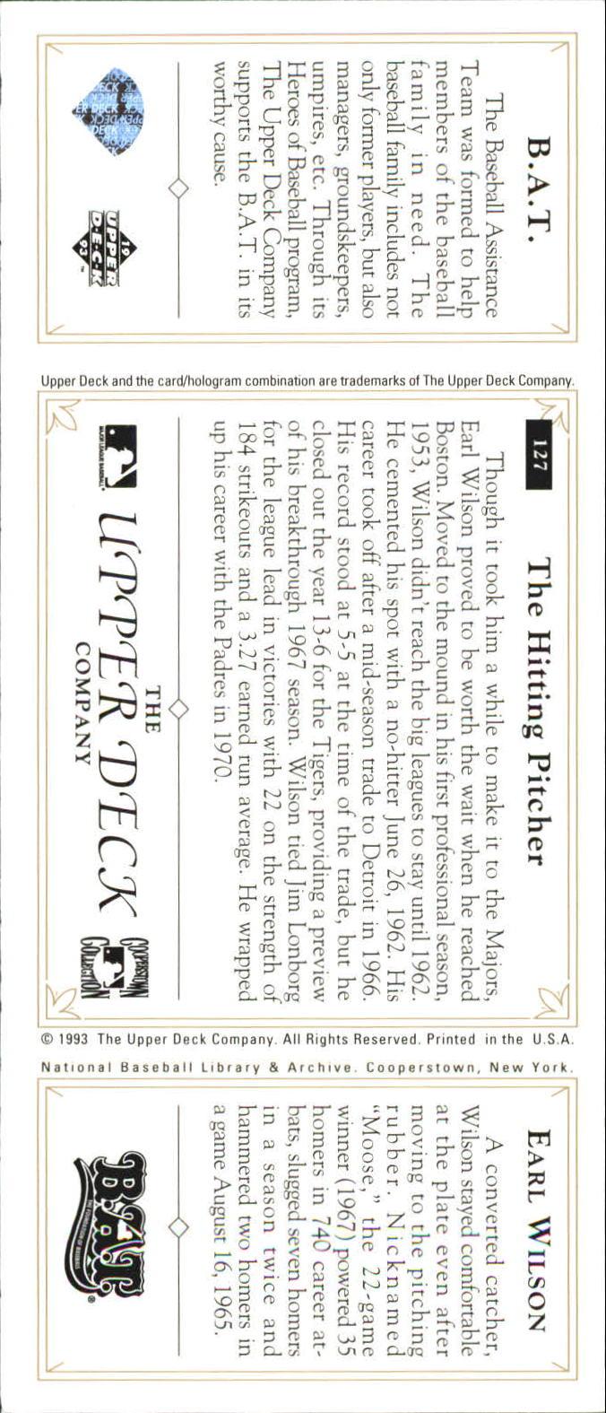 1993 Upper Deck All-Time Heroes #127 Earl Wilson back image