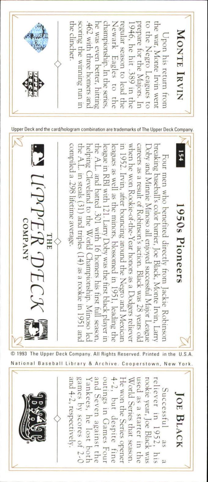 1993 Upper Deck All-Time Heroes #154 Joe Black/Monte Irvin back image