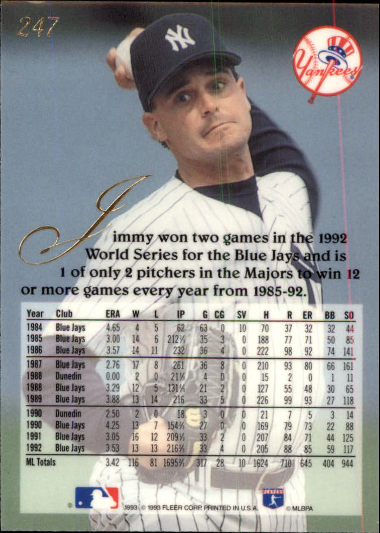 1993 Flair #247 Jimmy Key back image
