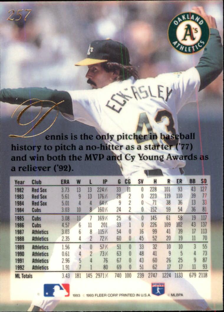 1993 Flair #257 Dennis Eckersley back image