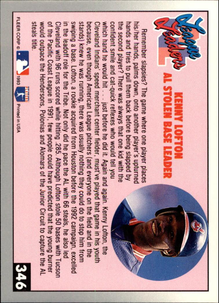 1993 Fleer #346 Kenny Lofton LL back image