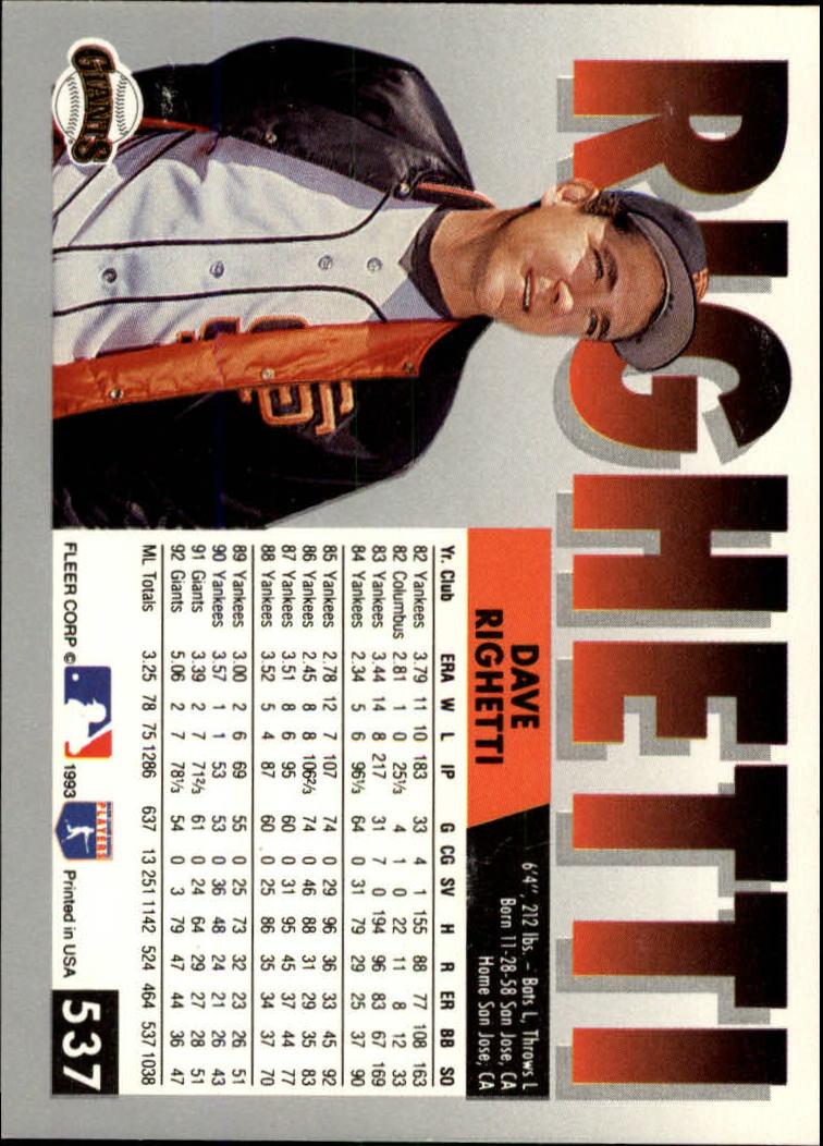1993 Fleer #537 Dave Righetti back image