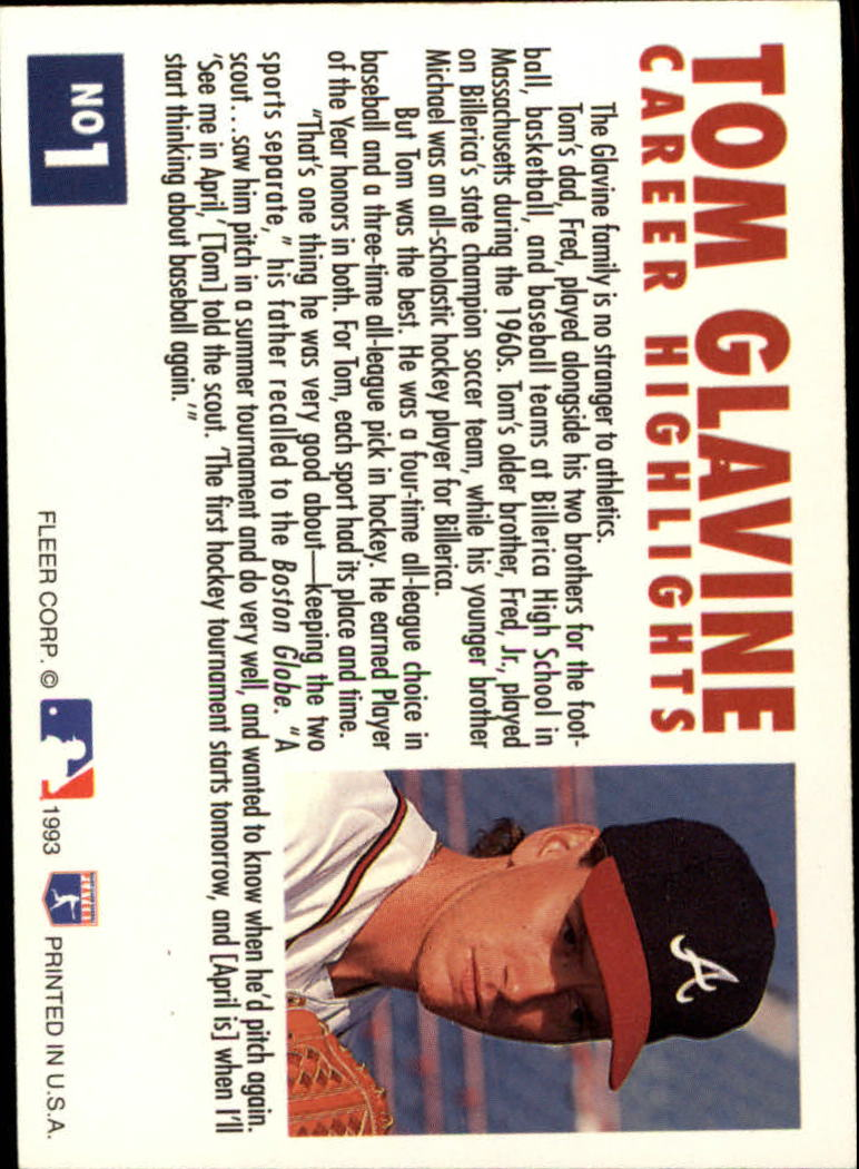 1993 Fleer Glavine #1 Tom Glavine/Facing right back image