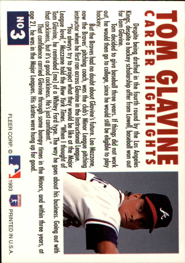 1993 Fleer Glavine #3 Tom Glavine/Facing left back image