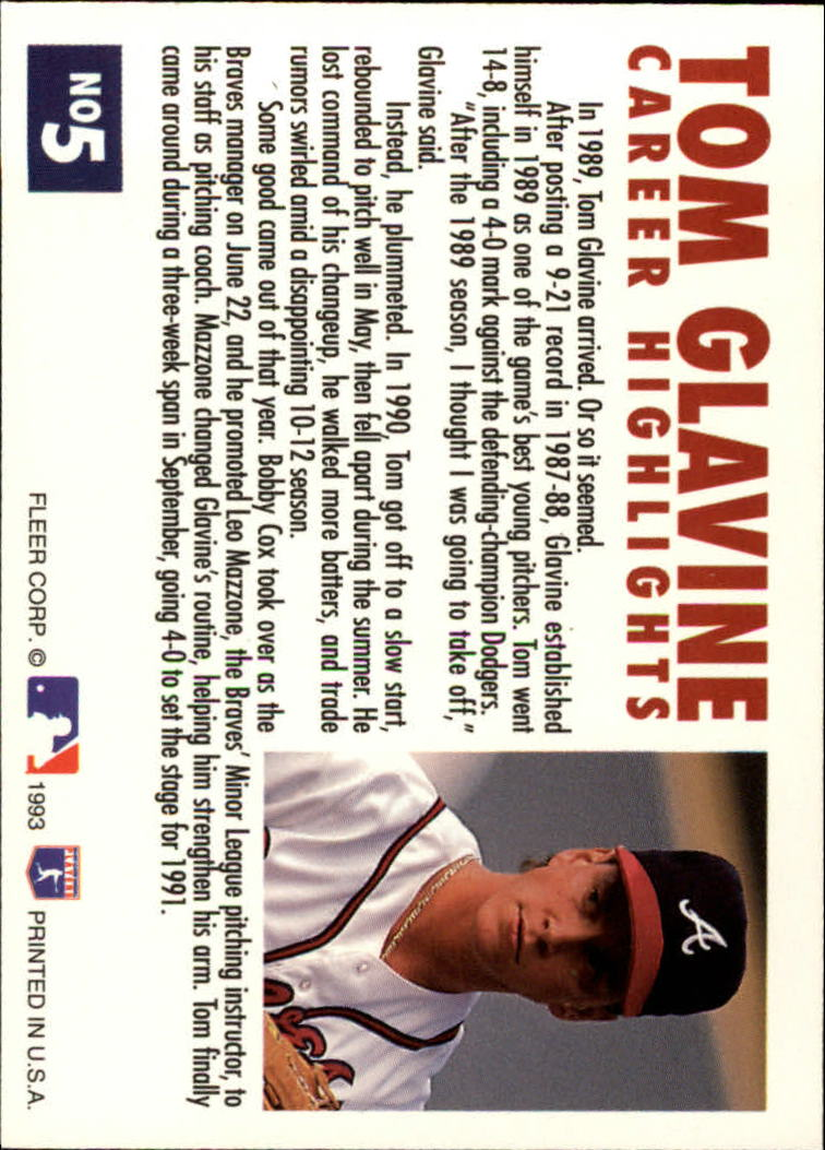 1993 Fleer Glavine #5 Tom Glavine back image
