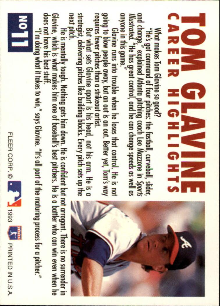 1993 Fleer Glavine #11 Tom Glavine back image