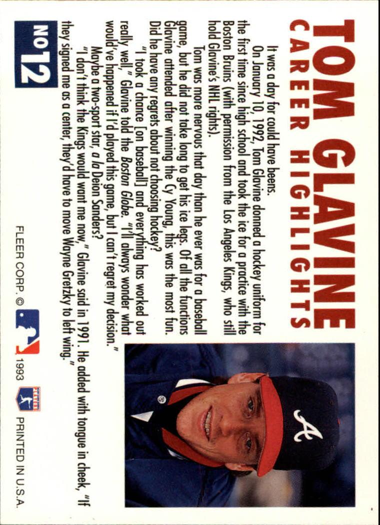 1993 Fleer Glavine #12 Tom Glavine back image