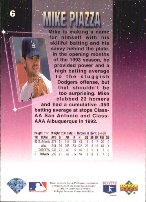 1993 Fun Pack #6 Mike Piazza back image