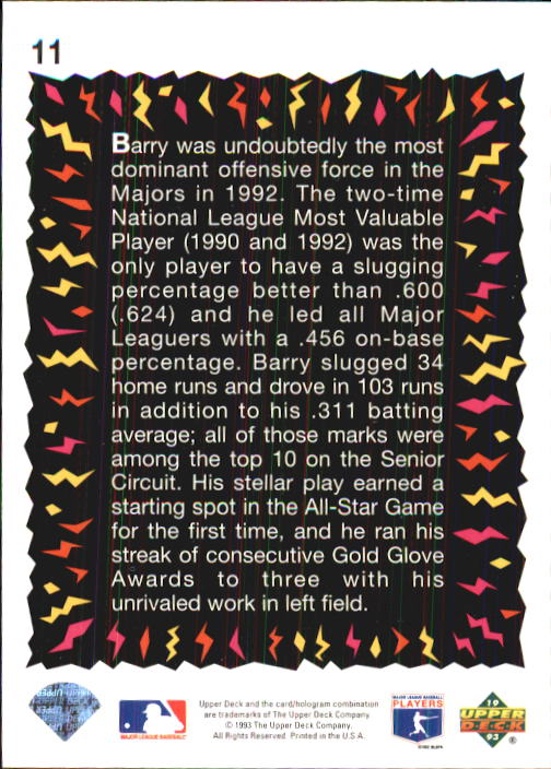 1993 Fun Pack #11 Barry Bonds HS back image