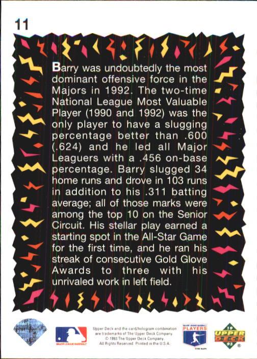 1993 Fun Pack #11 Barry Bonds HS back image
