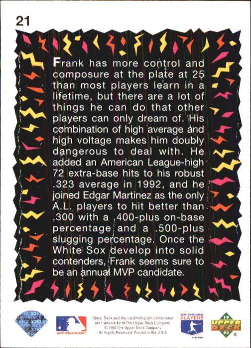 1993 Fun Pack #21 Frank Thomas HS back image