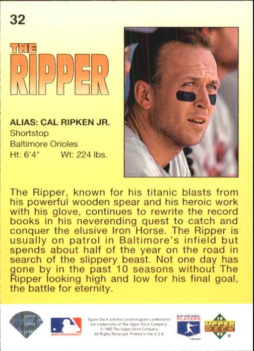 1993 Fun Pack #32 Cal Ripken HERO back image