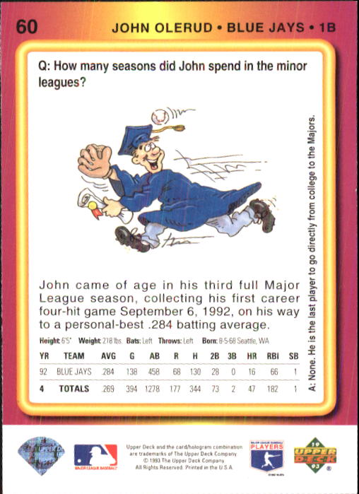 1993 Fun Pack #60 John Olerud back image