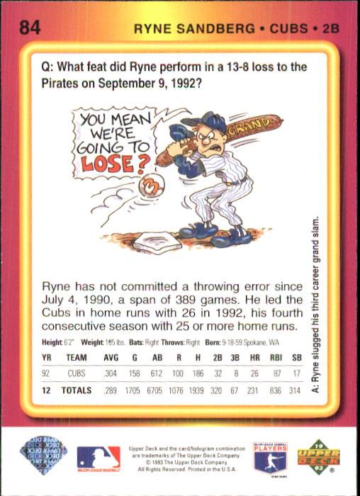 1993 Fun Pack #84 Ryne Sandberg back image
