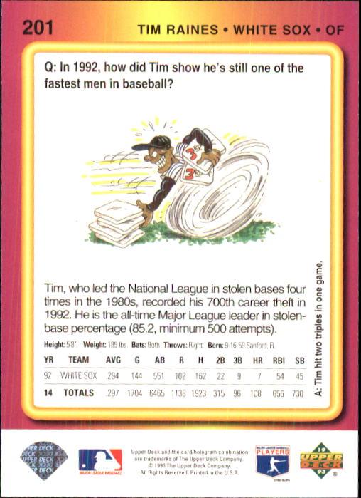1993 Fun Pack #201 Tim Raines back image
