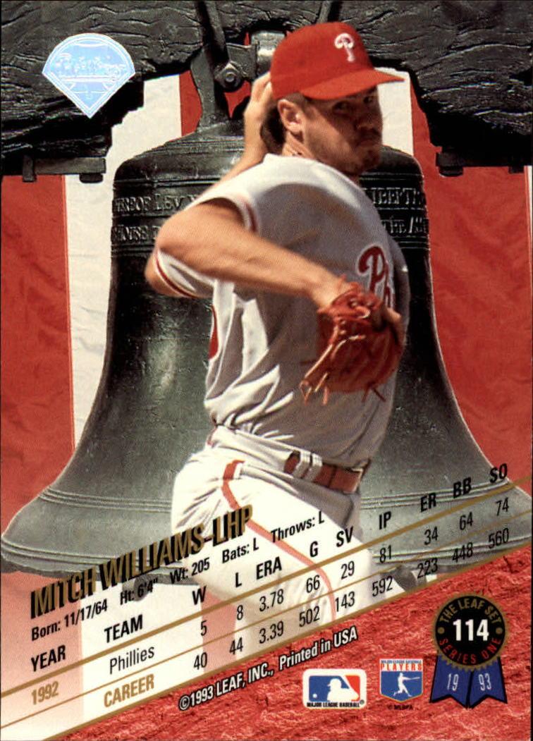 1993 Leaf #114 Mitch Williams back image