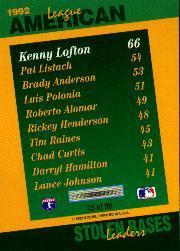 1993 Select Stat Leaders #55 Kenny Lofton back image