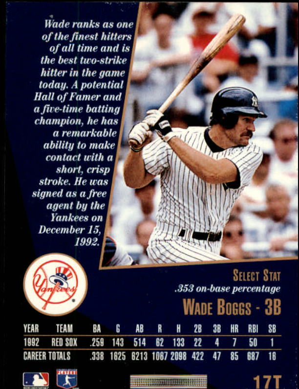 1993 Select Rookie/Traded #17T Wade Boggs back image