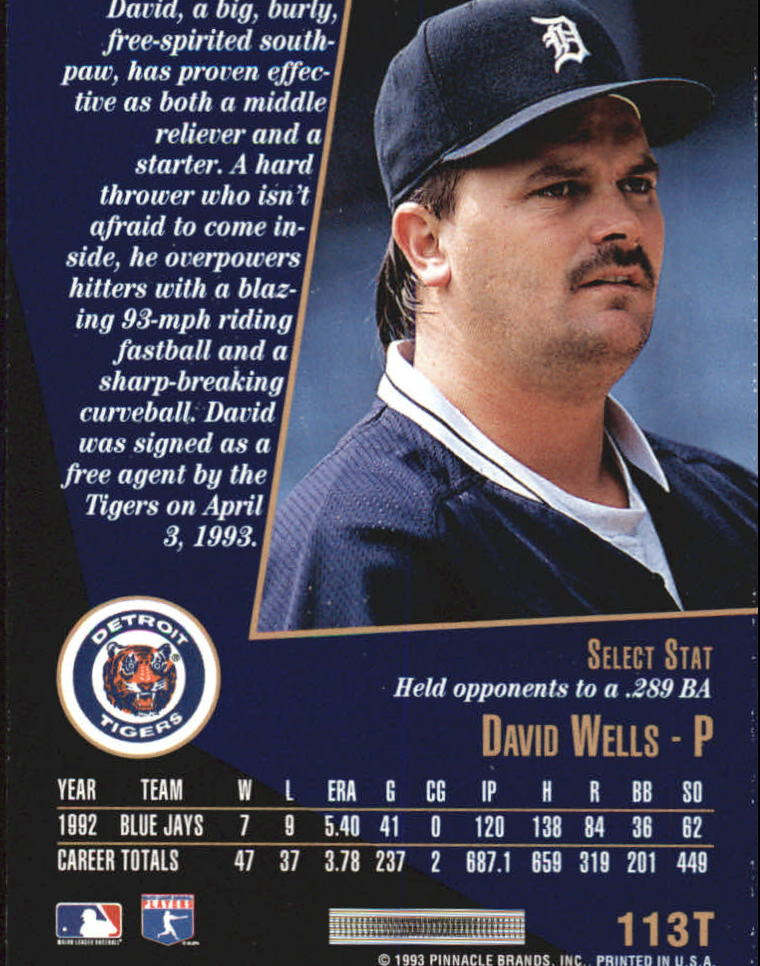 1993 Select Rookie/Traded #113T David Wells back image