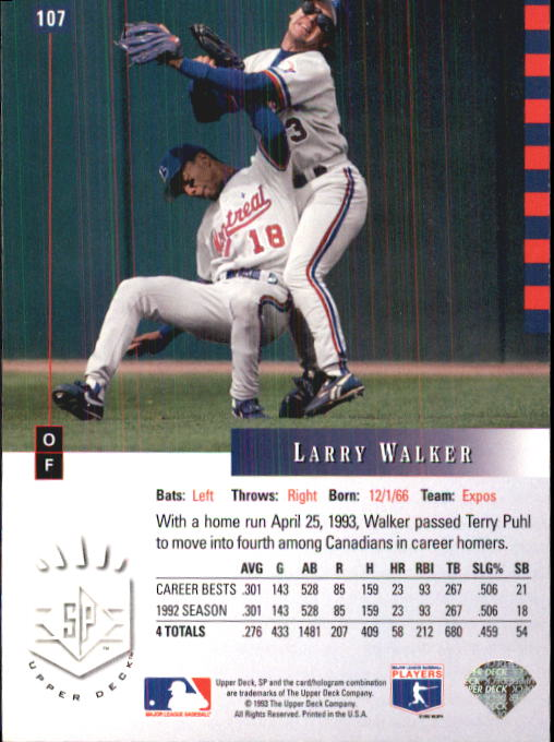 1993 SP #107 Larry Walker back image
