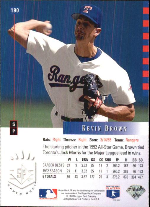 1993 SP #190 Kevin Brown back image