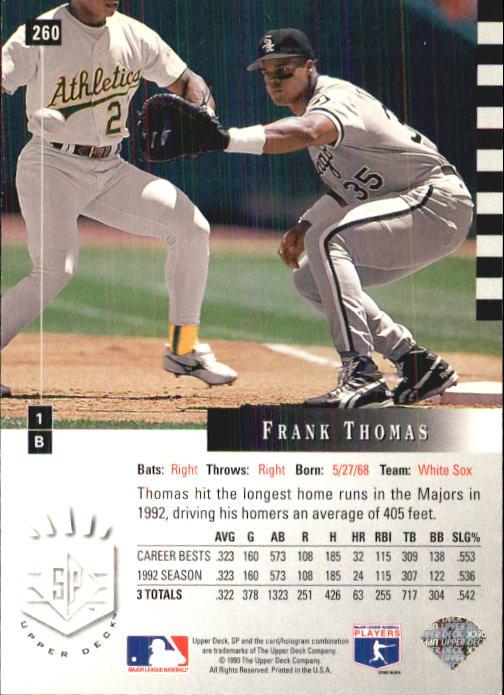1993 SP #260 Frank Thomas back image
