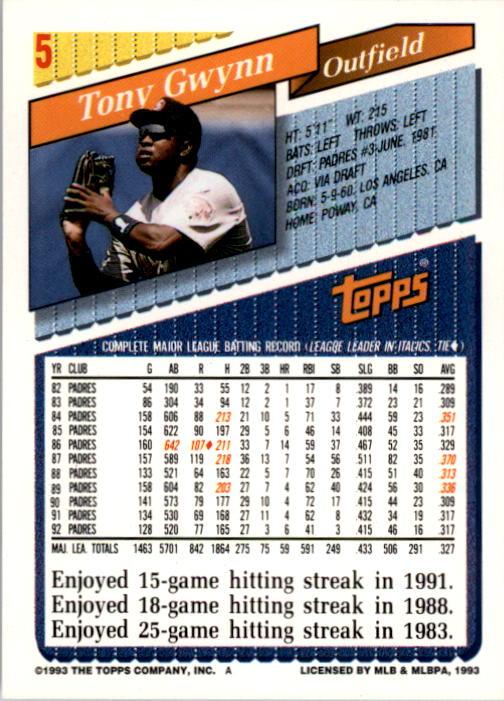 1993 Topps #5 Tony Gwynn back image