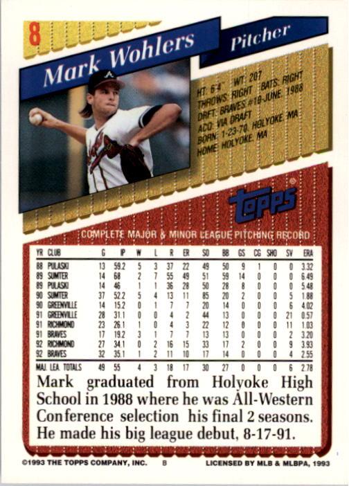 1993 Topps #8 Mark Wohlers back image