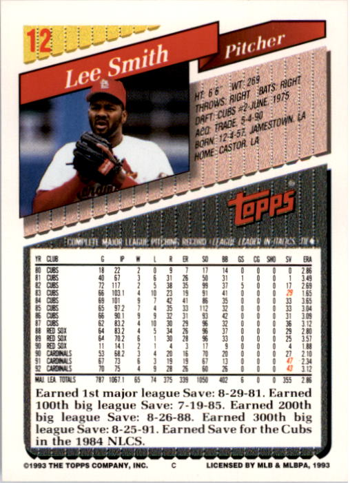 1993 Topps #12 Lee Smith back image
