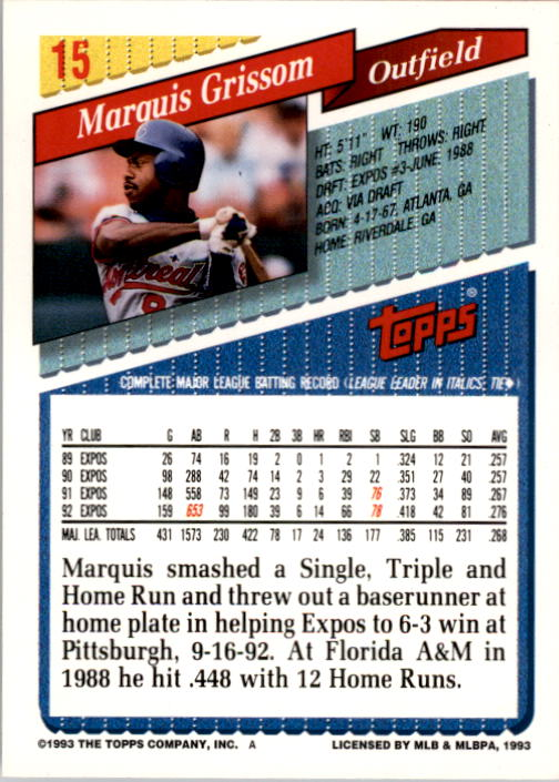 1993 Topps #15 Marquis Grissom back image