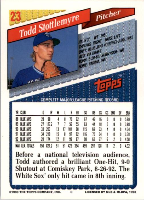1993 Topps #23 Todd Stottlemyre back image