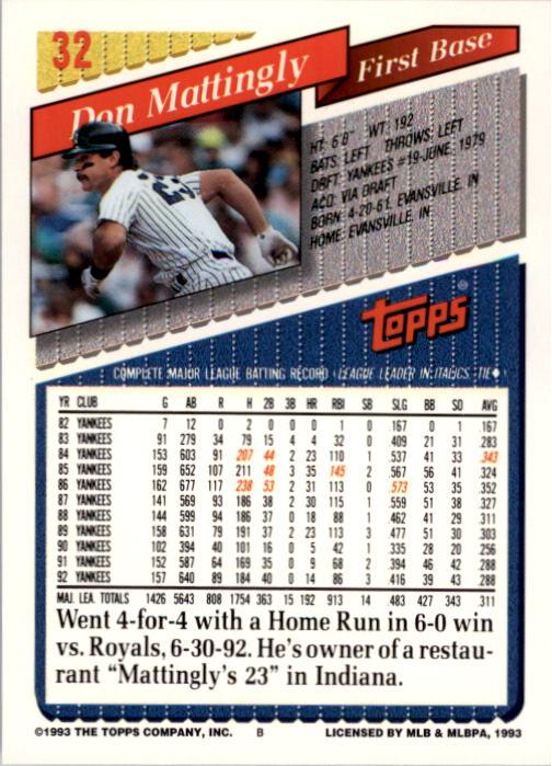 1993 Topps #32 Don Mattingly back image