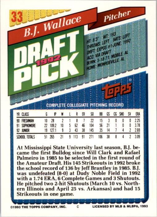 1993 Topps #33 B.J. Wallace back image