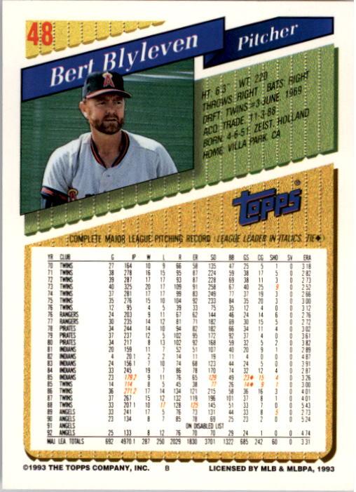 1993 Topps #48 Bert Blyleven back image