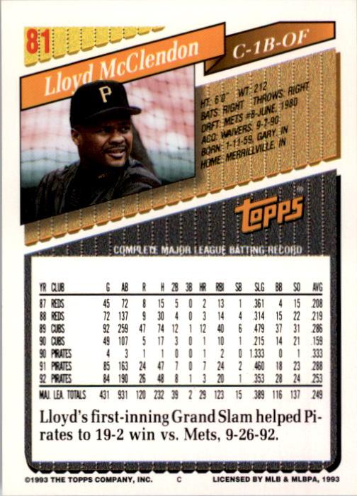 1993 Topps #81 Lloyd McClendon back image