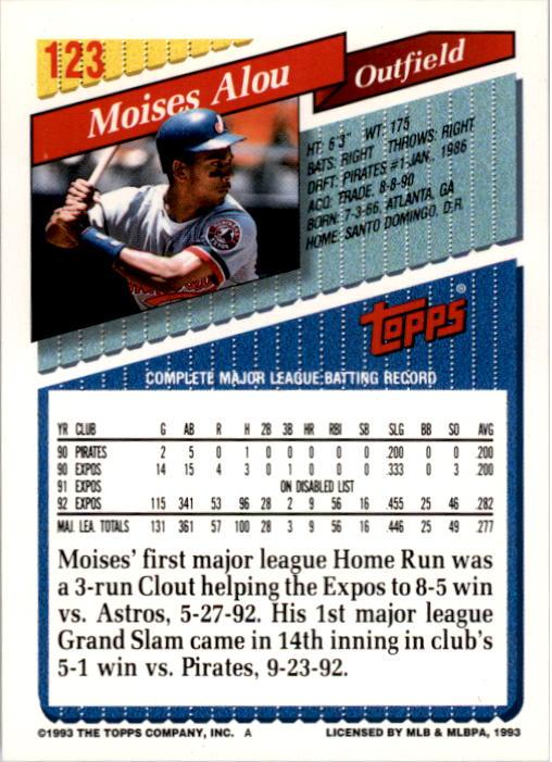 1993 Topps #123 Moises Alou back image