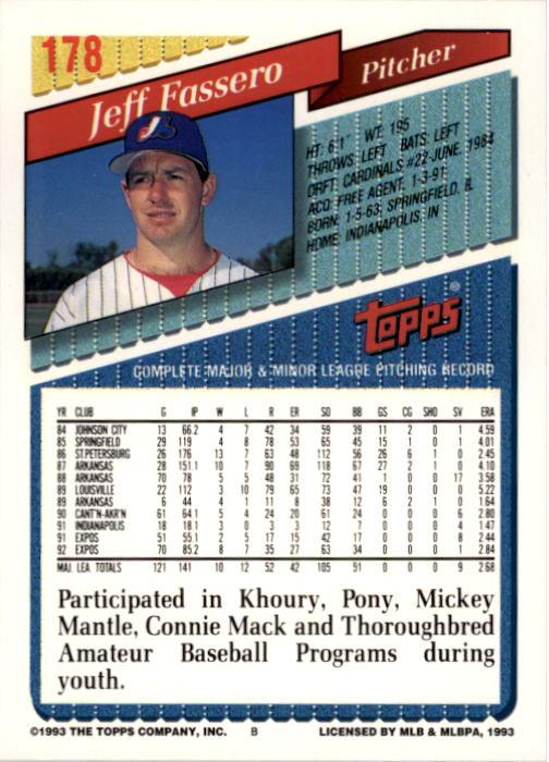 1993 Topps #178 Jeff Fassero back image