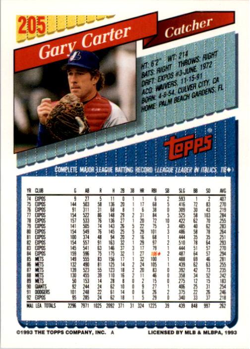 1993 Topps #205 Gary Carter back image