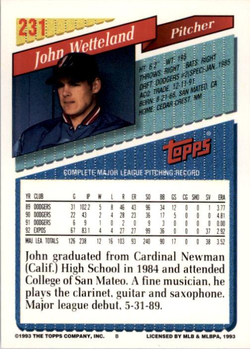 1993 Topps #231 John Wetteland back image