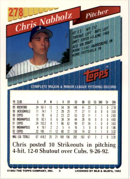 1993 Topps #278 Chris Nabholz back image