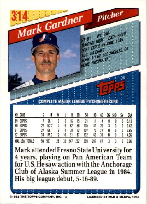 1993 Topps #314 Mark Gardner back image