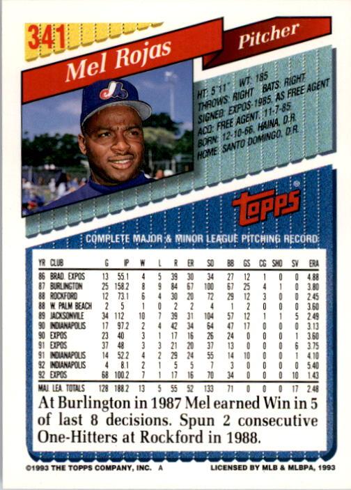 1993 Topps #341 Mel Rojas back image